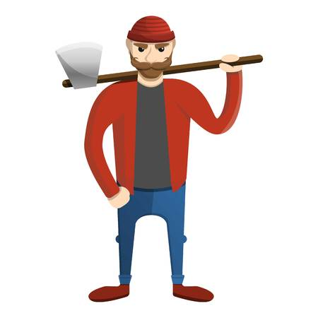 Lindo icono de leñador. Caricatura de lindo leñador icono vectoriales para diseño web aislado sobre fondo blanco. Ilustración de vector