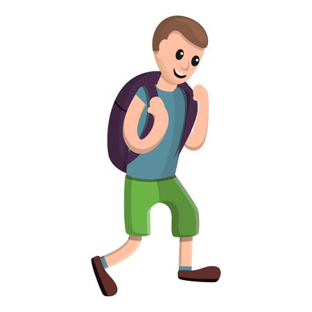 Happy boy with backpack icon. Cartoon of happy boy with backpack vector icon for web design isolated on white background