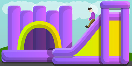 Inflated jumping castle and slide concept banner. Cartoon illustration of inflated jumping castle and slide vector concept banner for web design