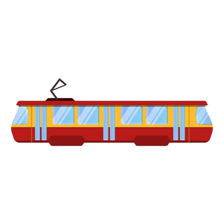 Red tram car icon. Cartoon of red tram car vector icon for web design isolated on white background