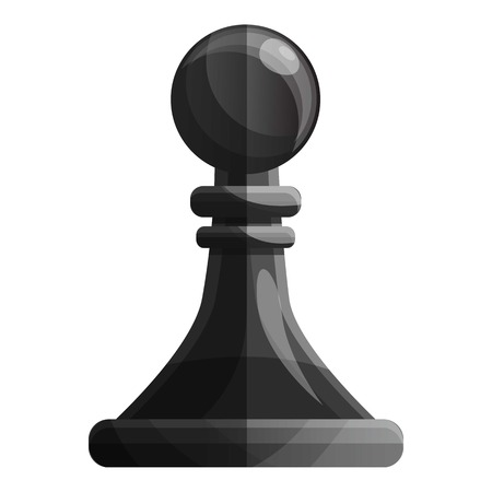 Black pawn piece icon. Cartoon of black pawn piece vector icon for web design isolated on white background