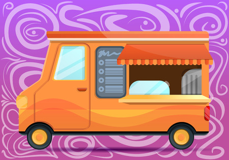 Food truck concept banner. Cartoon illustration of food truck vector concept banner for web design