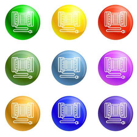 Modern home heater icons vector 9 color set isolated on white background for any web design