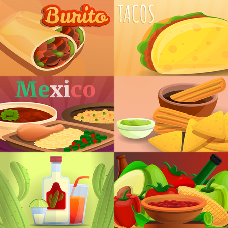 Mexican food banner set. Cartoon illustration of mexican food vector banner set for web design