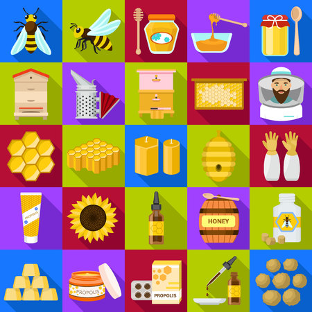 Propolis icons set. Flat set of propolis vector icons for web design