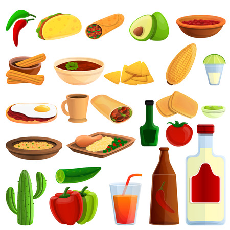Mexican food icons set. Cartoon set of mexican food vector icons for web design