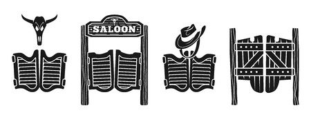 Saloon icons set. Simple set of saloon vector icons for web design on white background