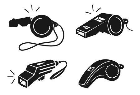 Whistle icons set. Simple set of whistle vector icons for web design on white background