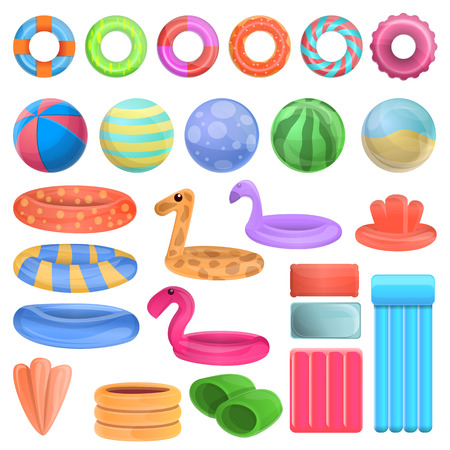 Pool equipment icons set. Cartoon set of pool equipment vector icons for web design