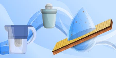 Filter water concept banner. Cartoon illustration of filter water vector concept banner for web design