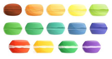 Macarons icons set. Cartoon set of macarons vector icons for web design 矢量图像