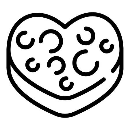 Heart biscuit icon. Outline heart biscuit vector icon for web design isolated on white background