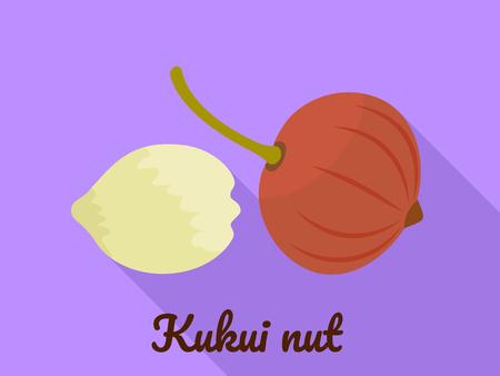 Kukui nut icon. Flat illustration of kukui nut vector icon for web design Standard-Bild - 116215403