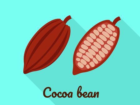 Cocoa bean icon. Flat illustration of cocoa bean vector icon for web design