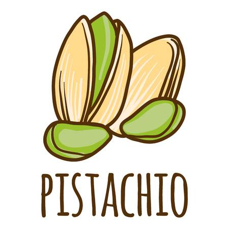 Pistachio icon. Hand drawn illustration of pistachio vector icon for web design  イラスト・ベクター素材