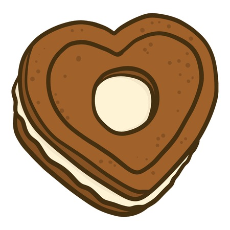 Heart cookie icon. Hand drawn illustration of heart cookie vector icon for web design