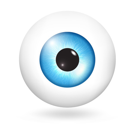 Blue sky eyeball icon. Realistic illustration of blue sky eyeball vector icon for web design isolated on white background
