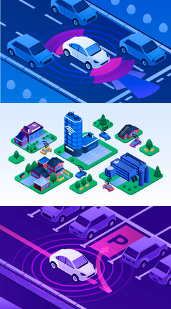 Driverless car banner set. Isometric set of driverless car vector banner for web design Illustration