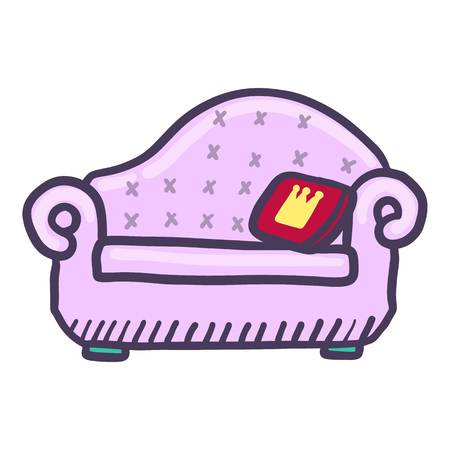 King sofa icon. Hand drawn illustration of king sofa vector icon for web design