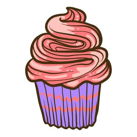 Cream cupcake icon. Hand drawn illustration of cream cupcake vector icon for web design Çizim