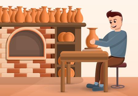 Potters wheel concept background. Cartoon illustration of potters wheel vector concept background for web design