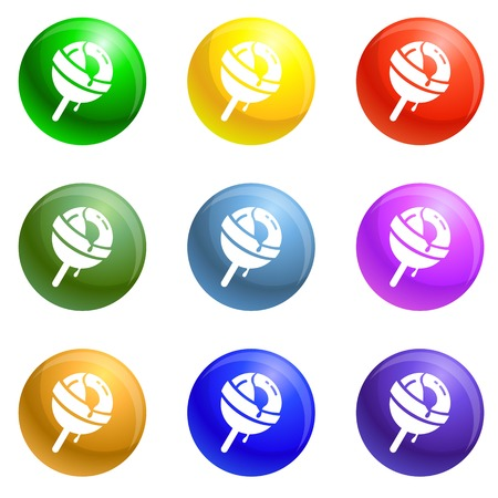Lollipop icons vector 9 color set isolated on white background for any web design Stock Illustratie