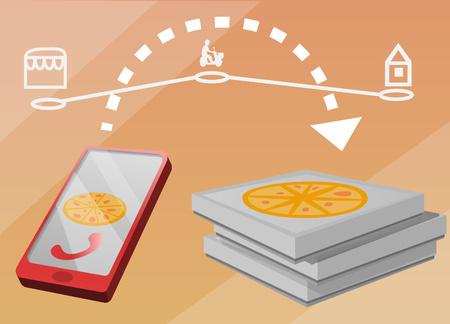 Online buy pizza concept banner. Cartoon illustration of online buy pizza vector concept banner for web design