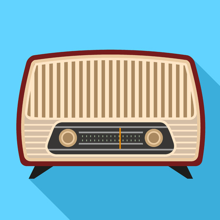 Vintage radio icon. Flat illustration of vintage radio vector icon for web design