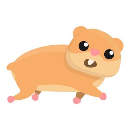 Laufender Hamster-Symbol. Cartoon des laufenden Hamstervektorsymbols für Webdesign isoliert auf weißem Hintergrund