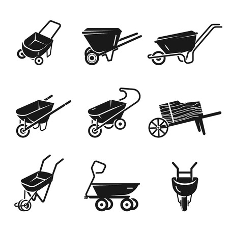 Wheelbarrow icons set. Simple set of wheelbarrow vector icons for web design on white background