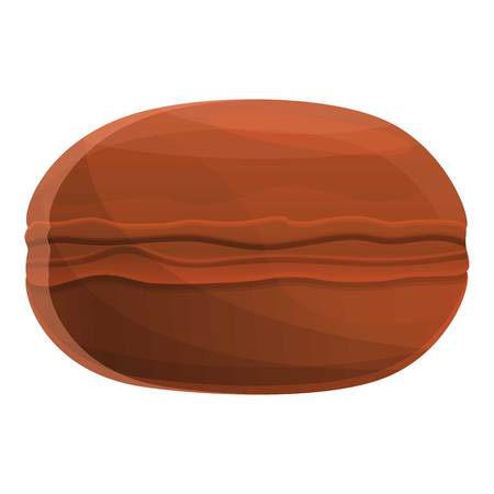 Chocolate macaroon icon. Cartoon of chocolate macaroon vector icon for web design isolated on white background