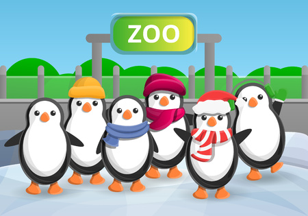 Zoo penguin group concept banner. Cartoon illustration of zoo penguin group vector concept banner for web design