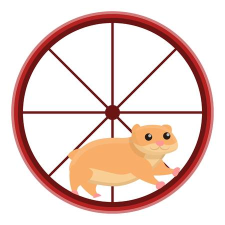 Hamster in wheel icon. Cartoon of hamster in wheel vector icon for web design isolated on white background