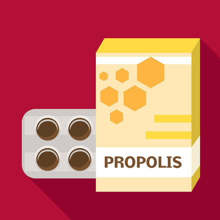 Propolis pill pack icon. Flat illustration of propolis pill pack vector icon for web design