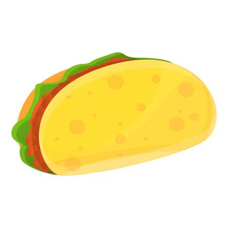 Mexican tacos icon. Cartoon of mexican tacos vector icon for web design isolated on white background Illustration