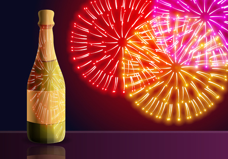 Champagne fireworks concept banner. Cartoon illustration of champagne fireworks vector concept banner for web design Archivio Fotografico - 125312651