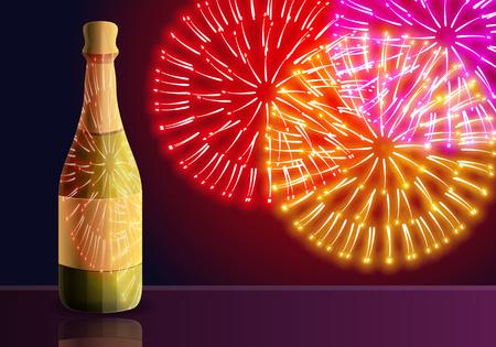 Champagne fireworks concept banner. Cartoon illustration of champagne fireworks vector concept banner for web design