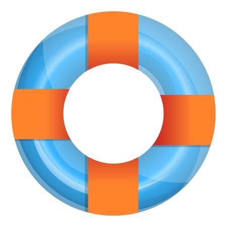 Orange blaues Pool-Ringsymbol. Cartoon des orange blauen Poolring-Vektorsymbols für Webdesign isoliert auf weißem Hintergrund Vektorgrafik