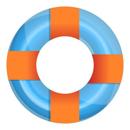 Orange blue pool ring icon. Cartoon of orange blue pool ring vector icon for web design isolated on white background