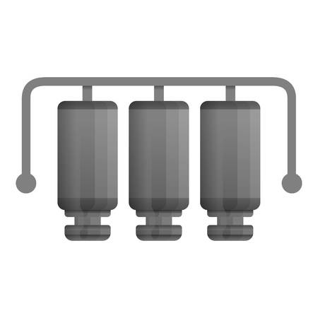 Three stage water filtration icon. Cartoon of three stage water filtration vector icon for web design isolated on white background