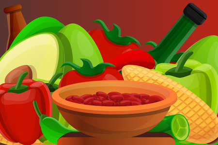 Mexican food beans concept banner. Cartoon illustration of mexican food beans vector concept banner for web design