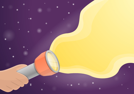 Flashlight concept background. Cartoon illustration of flashlight vector concept background for web design