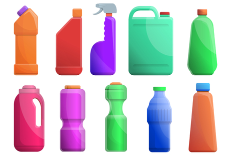 Cleaner toilet icons set. Cartoon set of cleaner toilet vector icons for web design Ilustrace
