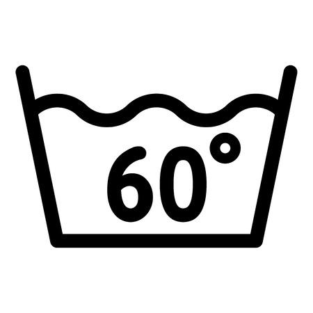Waschen bei 60 Grad oder unter dem Symbol. Umrisswäsche bei 60 Grad oder unter Vektorsymbol für Webdesign isoliert auf weißem Hintergrund Vektorgrafik