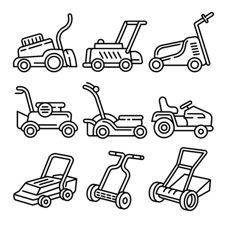 Lawnmower icons set. Outline set of lawnmower vector icons for web design isolated on white background