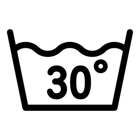 Waschen bei 30 Grad oder unter dem Symbol. Umrisswäsche bei 30 Grad oder Gebrüllvektorsymbol für Webdesign isoliert auf weißem Hintergrund