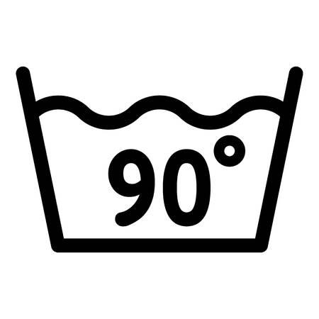 Waschen bei 90 Grad oder unter dem Symbol. Umrisswaschen bei 90 Grad oder Balgvektorsymbol für Webdesign isoliert auf weißem Hintergrund