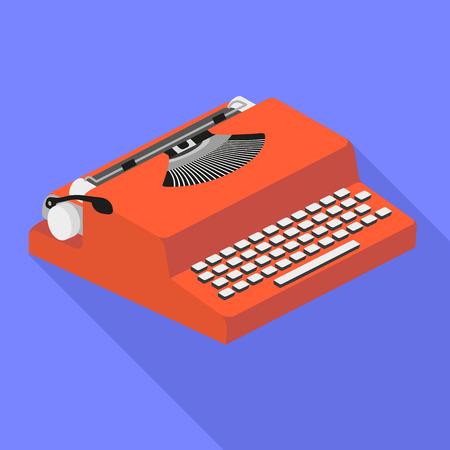 Red typewriter icon. Flat illustration of red typewriter vector icon for web design Ilustração