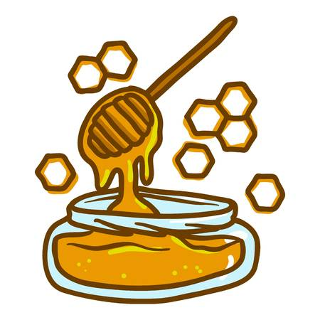 Honey wood in jar icon. Hand drawn illustration of honey wood in jar vector icon for web design