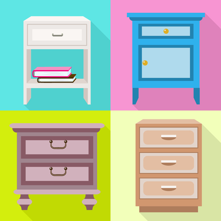 Nightstand icons set. Flat set of nightstand vector icons for web design